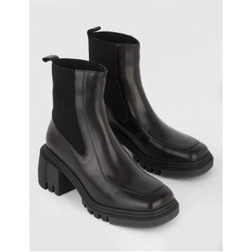Kesa чёрные кожаные женские ботинки на каблуке
